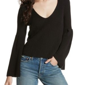 Free People V-Neck Damsel Bell Sleeve Sweater